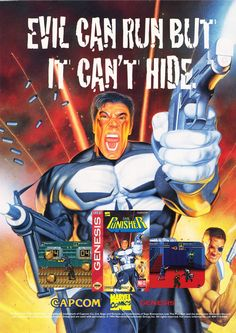 Evil Can Run But It Can't Hide. Marvel Punisher Sega Genesis ad