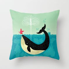 The Bird and The Whale Throw Pillow by Oliver Lake - $20.00 - for Duffy's new room?