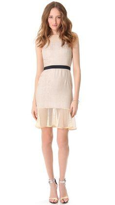 Charlotte Ronson Net Paneled Flounce Dress