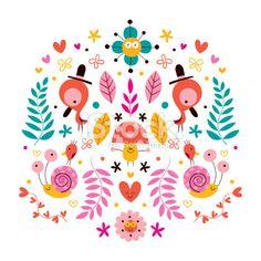 flowers, birds, mushroom & snails characters nature vector illustration Royalty Free Stock Vector Art Illustration