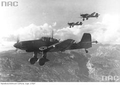 The bombing of the Yugoslav partisan position in the mountains of Montenegro, seen three dive bombers Junkers Ju 87D-1 (Stuka).