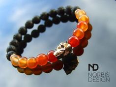 Men's Carnelian/Lava Skull Bracelet with Swarovski Rose Gold Crystal 7-8inch Elasticated - michaelaukjewelry - 1