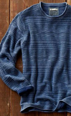Whitecap Sweater: If there's one sweater to keep on hand all year long, it's this soft, breathable knit. Sunwashed to highlight the unique waves and geometric motifs that run across it.