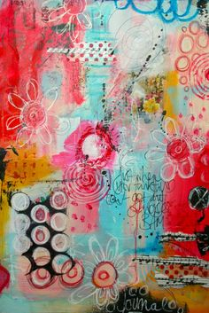 The Kathryn Wheel: Messy messy art journaling! LOVE the bright colours!! http://thekathrynwheel.blogspot.com.au/2014/11/messy-messy-art-journaling.html
