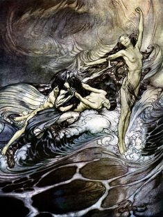 The Rhine-Maidens obtain possession of the ring and bear it off in triumph - Siegfried and The Twilight of the Gods, 1911