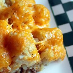 Tater Tot Casserole. Ground beef, cream of chicken soup, frozen tater tots, and cheddar cheese. #recipes