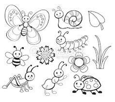 Vector Set of Cute Cartoon Bug Line Art Cute Coloring Pages, Classroom Crafts, Painting Patterns, Digital Stamps, Easy Drawings, Cute Cartoon, Rock Art, Doodle Art, Adult Coloring