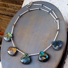 Labradorite drops and Sterling Silver Necklace by AtelierChokerbali on Etsy