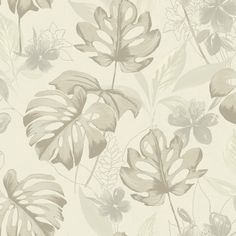 Leafy green wallpaper with pink flowers on a natural background. From the Paradise collection, Panama 98352 by Holden. Available in NZ through Guthrie Bowron stores. Zen Wallpaper, Neutral Wallpaper, Normal Wallpaper, Botanical Wallpaper, Embossed Wallpaper, Wallpaper Panels, Wallpaper Roll, Pattern Wallpaper, Luau