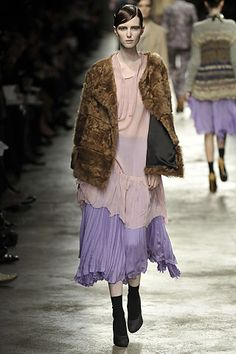 Lilac layers and shaggy textured jacket | Purple, pink and brown | Dries Van Noten