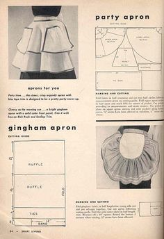 Vintage organdy aprons from Smart Sewing Magazine, Sixth Edition, 1953 Vintage Apron Pattern, Retro Apron, Aprons Vintage, Vintage Sewing Patterns, Apron Patterns, Modern Aprons, Apron Tutorial, Sewing Magazines, Sewing Aprons