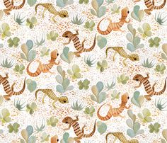 painted desert gecko fabric by cjldesigns on Spoonflower - custom fabric