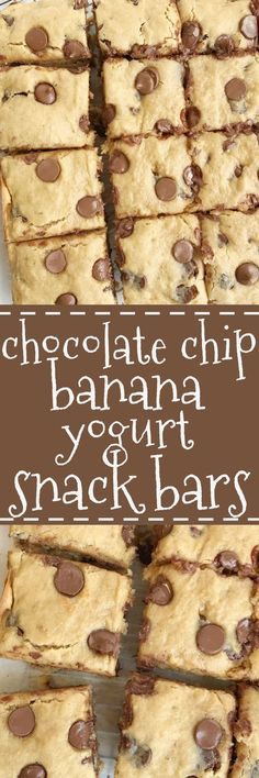 Chocolate chip banana yogurt snack bars are so soft and loaded with chocolate and banana flavor! An easy treat that even the kids can help make They have an added boost of Greek yogurt and white whol is part of Yogurt snacks - Baking Recipes, Dessert Recipes, Yogurt Recipes, Healthy Recipes, Snacks Recipes, Healthy Baking, Sauce Recipes, Delicious Desserts, Yummy Food