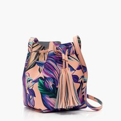 Mini bucket bag in painted petal leather
