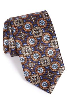 David Donahue Medallion Silk Tie available at Tie And Pocket Square, Pocket Squares, Bow Neck Ties, Gq Mens Style, Fashion Souls, Gentleman's Wardrobe, Ties That Bind, Tie Pattern, Sartorialist