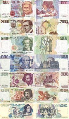 old Italian money as artwork, Love it! Poster Vintage, Retro Vintage, Old Money, Infancy, Little Pony, Childhood Memories, Pop Art, Vintage World Maps, Cartoon