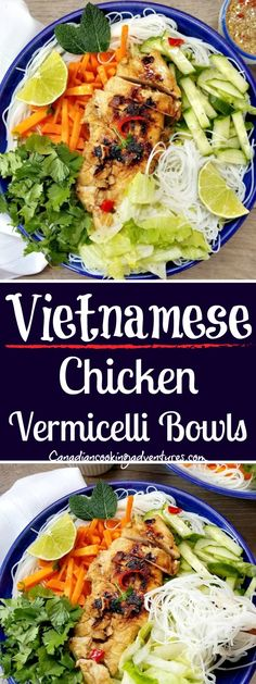 Vietnamese Chicken Vermicelli Bowls Greens, which often happens in different ways in the kitchen of Chicken Vermicelli, Vermicelli Recipes, Vermicelli Noodles, Cooking Recipes, Healthy Recipes, Healthy Vietnamese Recipes, Food Bowl, Asian Cooking, International Recipes
