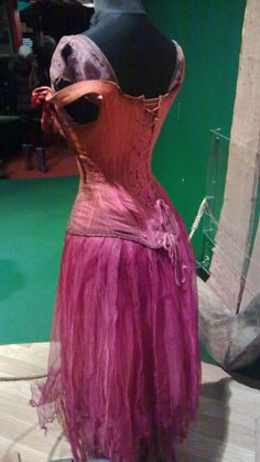 Reverse view of Anne Hathaway's prostitute costume from Les Miserables. Exhibition at Portsmouth Historic Dockyard. #film #costume