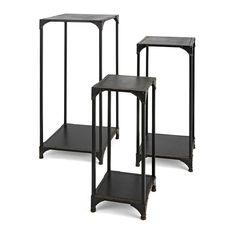 Imax Jasper Wood and Metal Display Pedestals - Set of 3