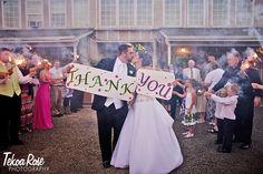 Green Villa Barn Wedding, Thank You, Sparkler Exit