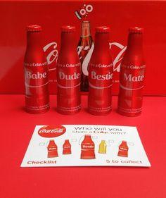 Coleção Coca-Cola Mini Garrafinhas Share a coke White my Babe, Dude, Bestie e Babe. Irlanda Uk 2014.