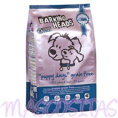 Barking Heads Puppy Days Grain Free. Proporciona todos los nutrientes esenciales que el cachorro necesita. Ayuda al desarrollo mental y ocular y es perfecto para promover un desarrollo de unos huesos fuertes y una dentadura sana.