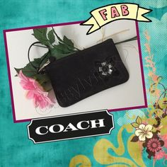 Signature Coach wristlet Coach's signature style with a flower design. A bit dusty from it sitting around...otherwise this wristlet is clean inside and out. Inside is all black. Barely used.  ALWAYS AUTHENTIC  Coach Bags Clutches & Wristlets