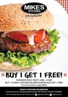 Mikes Kitchen Milnertonl Buy 1 get 1 FREE! Kitchen Time, Buy 1, Beef, Chicken, Ethnic Recipes, Stuff To Buy, Food, Meat, Eten