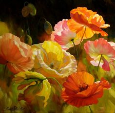 Painting by Artist Leon Roulette Art Floral, Garden Art, Garden Beds, Painting Inspiration, Flower Art, Beautiful Flowers, Beautiful Love Pictures, Poppies, Watercolor Paintings