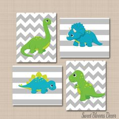 Dinosaur Nursery Decor,Blue Green Dinosaur Wall Art,Dinosaur Wall Art,Dinosaur Kids Wall Art,Gray Chevron Dinosaur Wall ArtUNFRAMED is part of Dinosaur Nursery Decorblue Green Dinosaur Wall Artdi -