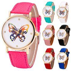 Fashion Women Butterfly Pattern Quartz Watch PU Leather Band Round Wristwatch