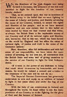 Oath for Roger Casement's Irish Brigade