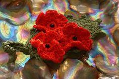 hand crochet poppy flower brooch, | Crochet Poppy, Crochet Flowers, Hand Crochet, Knit Crochet, Leaf Garland, Granny Squares, Crochet Designs, Flower Brooch, Crochet Projects