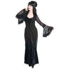Alison lange middeleeuwse gothic jurk van fluweel en brokaat kant zwart - Gothic Halloween