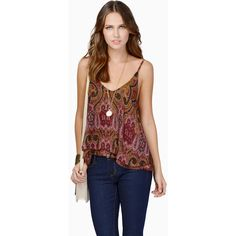 Tobi Carry Home Top ($20) ❤ liked on Polyvore featuring tops, burgundy, paisley print top, red camisole, burgundy top, red cami and red camisole top