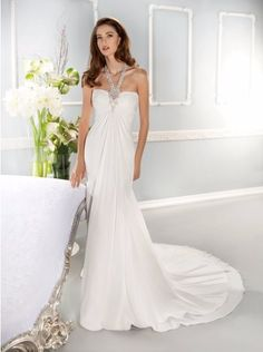 CHERRIE Halter Neck Empire Bridal GownChiffon Wedding Dress with Beading
