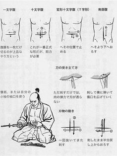 """Suicide is not to be taken lightly—especially in Japan, where it has a long (and bloody) tradition. In Japan, samurai committed seppuku (切腹 or """"ritual suicide"""") if enemies captured them or if they defiled the samurai code. Katana, The Last Samurai, Martial Arts Weapons, Cultura General, Samurai Armor, Japanese Sword, Japanese Culture, Japanese Art, Kendo"""