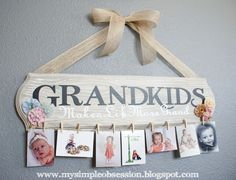 Grandparents can change out the pictures as the kids grow! Cute gift idea- so making this for Gammy and Gampy! Best grandparents a kid could ask for! :)