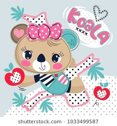 Cartoon cute koala bear girl holding apple and climbing on a tree on polka dot background illustration vector. Cute Koala Bear, Bear Girl, Polka Dot Background, Cartoon Design, Illustration, Hello Kitty, Minnie Mouse, Clip Art, Kawaii