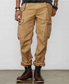 €88, Pantalon cargo brun clair Denim