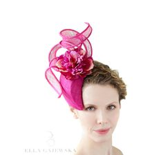 Fuchsia Straw Tear Shaped Headpiece Head Band by EllaGajewskaHATS, £179.00