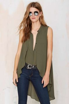 City Light Fever Asymmetrical Shirt - Okay Focus | Shirts + Blouses | Clothes | Tops