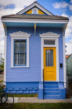 Architecture, Exciting Blue Shotgun House With Yellow Single Main Door Also One Window Glass Also Simple Stairs Also Minimalist Facade Exter...