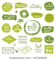 Collection of healthy organic food labels, logos for restaurants, vegan cafe, farm market and organic products packaging royalty free images vector Cafe Branding, Food Branding, Food Packaging Design, Bio Food, Organic Packaging, Benefits Of Organic Food, Organic Market, Vegan Cafe, Logo Restaurant