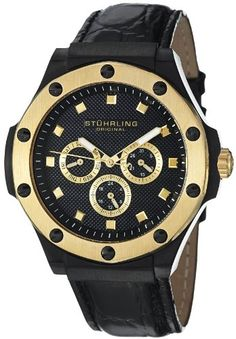 Men's Wrist Watches - Stuhrling Original Mens 160L33M51 Special Reserve Apocalypse Classic Quartz Day and Date MultiFunction Black Leather Strap Watch ** Details can be found by clicking on the image.