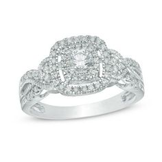 1/2 CT. T.W. Diamond Frame Vintage-Style Engagement Ring in 10K White Gold - View All Rings - Zales