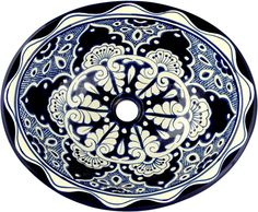 Mexican Tile - Mexican Talavera Sink - Blue Lace
