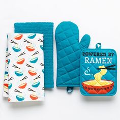 """Simple By Design 4-pc. """"Powered by Ramen"""" Kitchen Towel Set REGULAR $24.99 PRODUCT DETAILS Create a fun, playful look in your kitchen with this kitchen towel set from Simple By Design.  PRODUCT FEATURES Ultrasoft cotton ensures easy cleanup. Oven mitt and pot holder help protect your hands and countertop. WHAT'S INCLUDED Two kitchen towels Oven mitt Pot holder"""