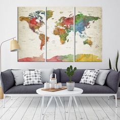 Push Pin World Map Wall Art Canvas Print Travel Map Extra Large - Grey world map canvas