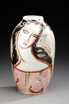 RENE BUTHAUD (1886-1986) - Vase ovoïde en céramique émaillée blanche craquelée[...]   Dans la vente Arts Décoratifs du XXème (Drouot) à Aguttes